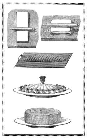 flan: Engravings of cookies, bread and pastry: preparation and table presentations. My elaboration from engravings of Sueddeutsche Kueche by Katharina Prato  - Verlagbuchhandlung Styria, 1913, author unidentified.