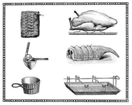 roast lamb: Engravings of kitchen cooking tool and roast meat. My elaboration of engravings from Sueddeutsche Kueche by Katharina Prato - Verlagbuchhandlung Styria, 1913, author unidentified. Stock Photo