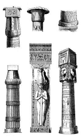 sculptures: Antique Egypt - architectural details of pillars, sculptures and hieroglyphics.