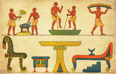 ancient civilization: Antique Egypt - pictorial description of house furniture and the art of baking