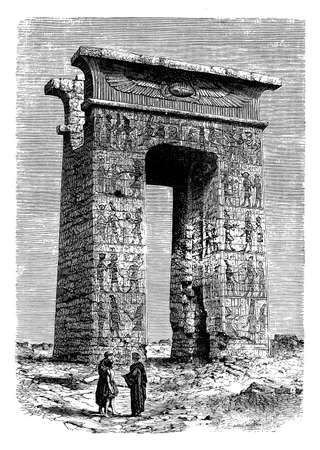 archeology: Antique Egypt archeology , engraving middle 800 of Karnak ruins temple