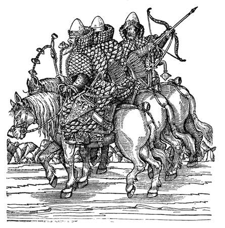 18th century style: Engraving of 16th century Muscovy horsemen readying for battle