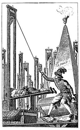 guillotine: 18th century engraving of a political caricature critical of the bloodshed brought about by the French revolution Stock Photo