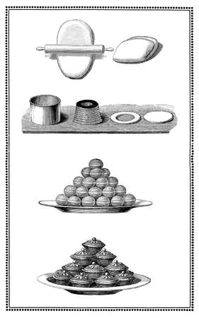 Engravings of cookies and pastry: preparation and table presentations. My elaboration of engravings from Sueddeutsche Kueche by Katharina Prato - Verlagbuchhandlung Styria, 1913, author unidentified.