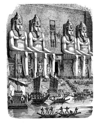 nile: Antique Egypt - Abu Simbel, vivid depiction of the life at this age, engraving middle 800