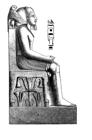 ruins: Antique Egypt , engraving - Portrait of pharaoh sitting on throne with hieroglyphics and sacred symbols Stock Photo