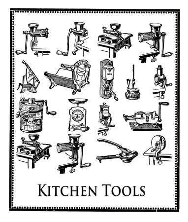 mincer: Engraving with essential kitchen tools for professional food preparation Stock Photo