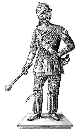 century: Engraving of 16th century Poland soldier armed with mace and sword