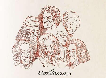 french renaissance: Firmado ensamble de caricaturas de Voltaire, uno de los pensadores m�s influyentes gratuitas del renacimiento franc�s
