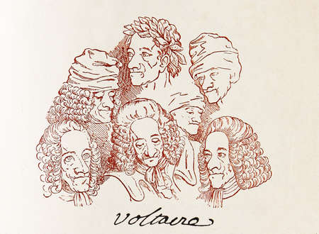 signed: Signed ensamble of caricatures of Voltaire, one of the most influencial free thinkers of the French renaissance