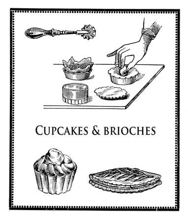 engravings: Kitchen of the past, black and white collage of engravings describing the preparation of cupcakes and brioches