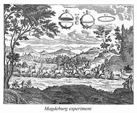 hemispheres: Engraving  showing an experiment with an evacuated sphere being carried out at Madgeburg, Germany. In this demonstration 16 horses could not pull apart the two halves of an evacuated sphere, which became known as Magdeburg hemispheres. Stock Photo