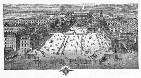 Engraving of the main court of the palace of Versailles France, a symbol of absolute monarchy, in 1715