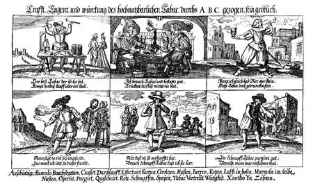 18th century style: 17th century caricatures depicting the abuse of alcohol and tobacco Stock Photo