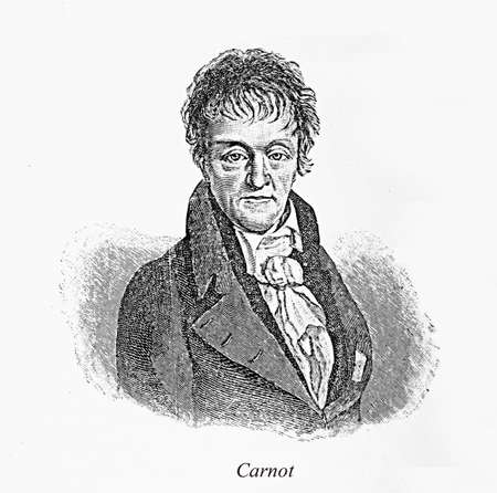 pioneer: Engravingportrait of Nicolas Léonard Sadi Carnot: 19th century French military engineer and physicist, pioneer of thermodynamics and author of the first successful theory of the maximum efficiency of heat engines