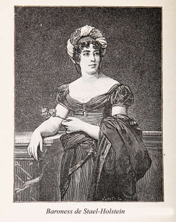 Portraitengraving of Baroness Anne Louise Germaine de Stael-Holstein: Napoleonic era French noblewoman, author, and intellectual who was one of Napoleons main opponents