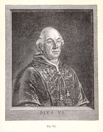pontiff: Engravingportrait of Pope Pius VI: 18th century pontiff who condemned the French revolution and defended the Gallican church