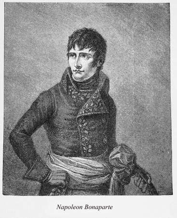 18th century style: Engravingportrait of Napoleon Bonaparte: military strategist and political leader who rose to prominence during the French revolution and went on to conquer most of continental Europe in the early 19th century, becoming Napoleon I, emperor of the French