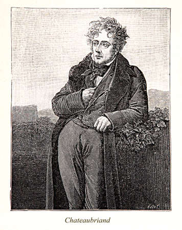 18th century style: Engravingportrait of François-René, vicomte de Chateaubriand: 18th century French writer and royalist politician, founder of romanticism in French literature