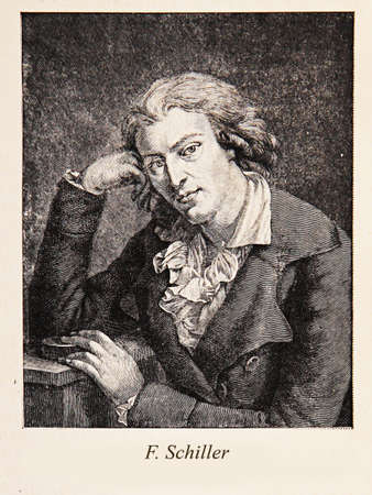 poet: Engravingportrait of Johann Christoph Friedrich von Schiller: German 19th century poet, philosopher, historian, and playwright; one of the most renowned figures in German literature