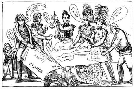 rey caricatura: Caricatura del Congreso de Viena (1815), en el que las grandes potencias europeas decidieron cómo remodelar post-napoleónica Europa en términos de límites y fronteras, para que las grandes potencias se equilibran entre sí, y así asegurar que la paz podría ser mantenido en el ye