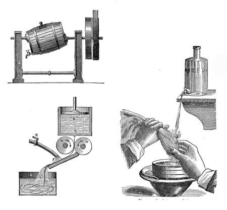 pressure bottle: engraving describing bakery procedures for margarine production and starch from dough separation
