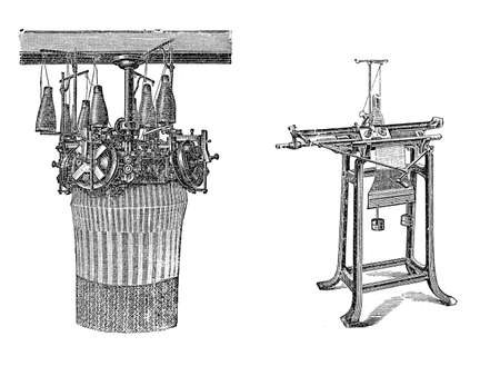 Engravings of knitting machines. Knitted fabrics are more flexible from woven fabric, can be more readily constructed into smaller pieces, making it ideal for socks and hats. Stock Photo