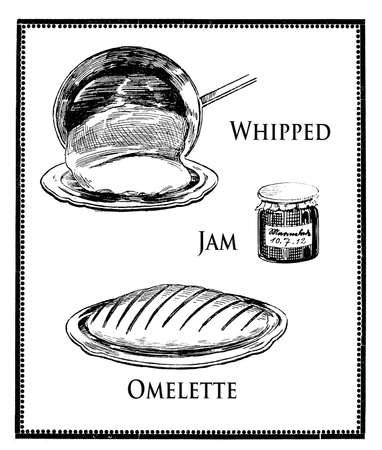 engravings: vintage food engravings collage, whipped jam omelette preparation Stock Photo