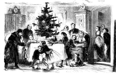 upper class: Upper class home: Santa Claus is coming with Christmas presents and toys for the children, vintage illustration