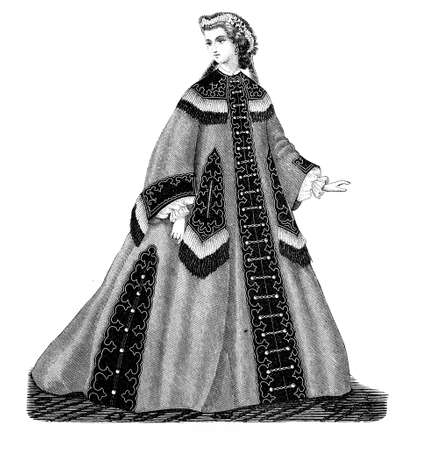 negligee: Vintage fashion illustrated, der Bazaar, Berlin 1862, lady with negligee