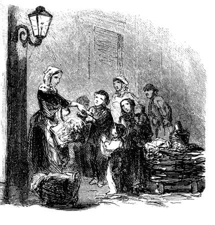 Vintage illustration, food distribution to paupers. Servant with baskets offers food to poor families, women men and children.