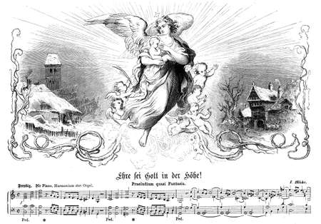cherubs: Traditional vintage Christmas illustration, landscape with snow, Angel with Jesus Child and cherubs, the notes of a sacred melody for reed organ