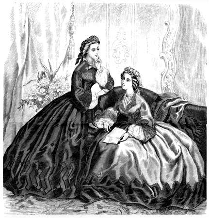 vestment: Vintage fashion illustrated, der Bazaar, Berlin 1862, ladies with robe at home