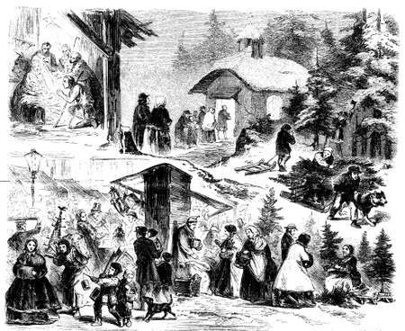retro lady: Vintage Christmas night described by 4 interlaced scenes, believers going to church, a living nativity representation,Christmas trees cut and put on sell at beautiful Christmas market full of people buying presents and offering charity to a beggar