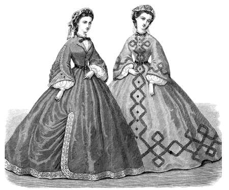 vestment: Vintage fashion illustrated, der Bazaar, Berlin 1862, ladies with robe