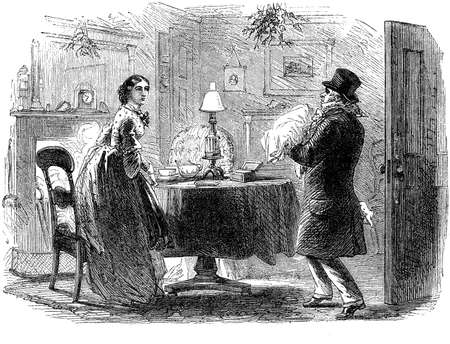 holiday house: Christmas Eve vintage illustration, an unexpected Christmas gift, visitor enters in the parlor carrying a present to a surprised woman Stock Photo