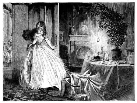 after the party: Christmas Eve, young mother carries sleeping little daughter to bed, leaving the parlor after party with fallen chair, Christmas tree, food on the table and Christmas decorations