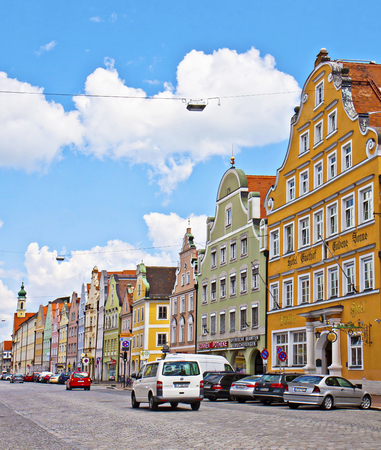 landshut: Landshut, Germany - City view with the beautiful Renaissance buildings painted in bright colors, architectural attraction of the city