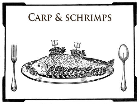 collage art: vintage food engravings collage, art deco table presentation of carp served with shrimps decoration
