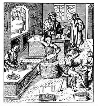 edad media: Grabado del vintage que representa el trabajo de los que hacen las monedas en un taller de la Edad Media