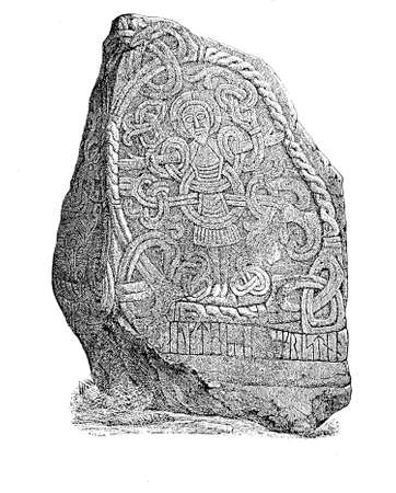 rock texture: Vintage engraving, Haralds runestone with Christ figure, Jelling Denmark .The stone has a figure of Jesus Christ on one side, Christ is depicted as standing in the shape of a cross and entangled in what appear to be branches.
