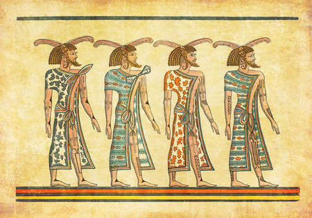 ancient civilization: Antique Egypt painting, representing Lybian tribesmen on pharaoh Seti I tomb
