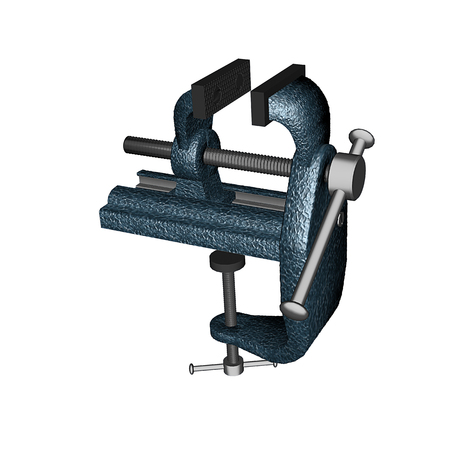 vise: Metal bench vise, isolated on white
