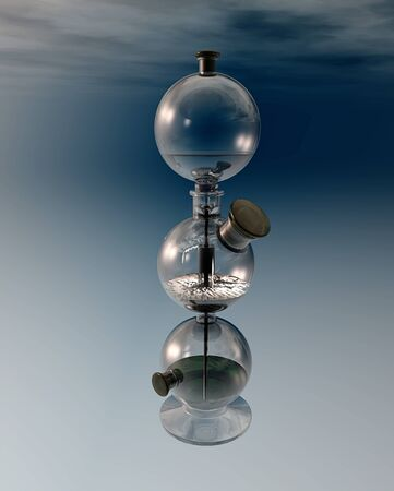 gas ball: Vintage chemistry, Kipps apparatus generator of gases, invented in 1844 by Petrus Jacobus Kipp Stock Photo