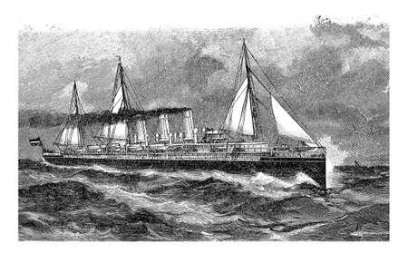 ocean liner: Vintage engraving, German ocean liner Augusta Victoria placed in service in 1889 Stock Photo