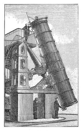 describing: Vintage engraving describing a reflecting telescope Stock Photo