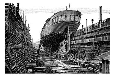 obreros trabajando: Vintage engraving,  steam propelled ship in basin - floating dock