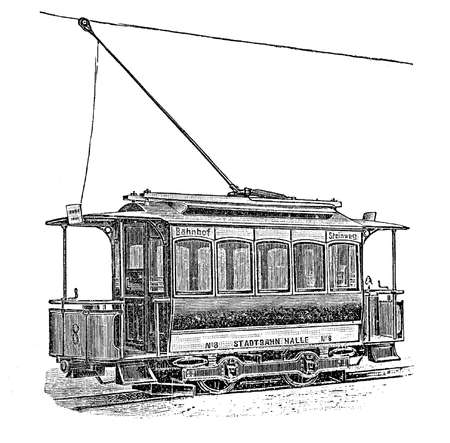 wheel change: Print from the late 1800s depicting an electric German tram