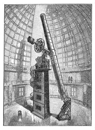 lick: Achievement in technology: refracting telescope of the observatory of Hamilton mountain in California since 1888, the worlds first permanently occupied mountain-top observatory,vintage engraving Stock Photo