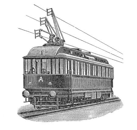 electric tram: Print from the late 1800s depicting an electric tram